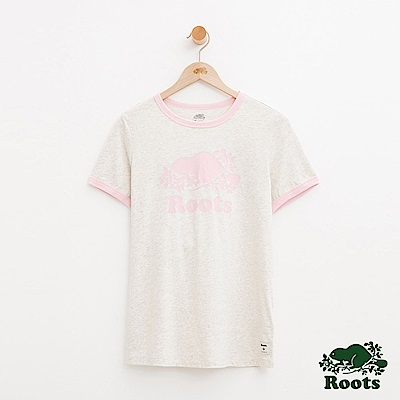 女裝Roots 庫柏海狸飾邊短袖T恤-灰