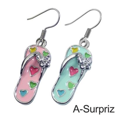 A-Surpriz 和風雙色木屐鞋晶鑽耳環