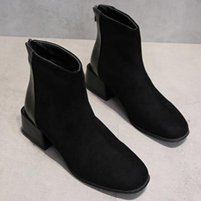 KEITH-WILL時尚鞋館-美型芬芳序曲絨面粗跟靴-黑色