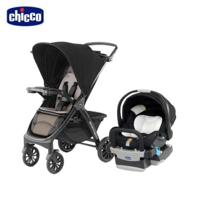 chicco-Bravo極致完美手推車特仕版-龐貝黑棕+KeyFit 手提汽座(優雅黑)