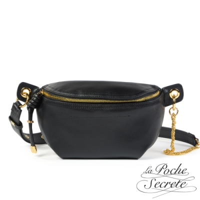 La Poche Secrete胸腰包 簡約真皮鏈帶胸腰包-百搭黑