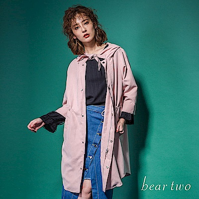 beartwo 可愛領結腰間抽繩七分袖連帽風衣外套(2色)