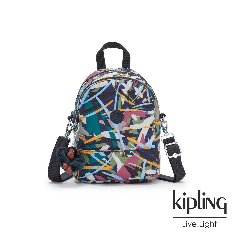Kipling 幾何花卉圖騰隨身兩用斜背包-IVES MINI