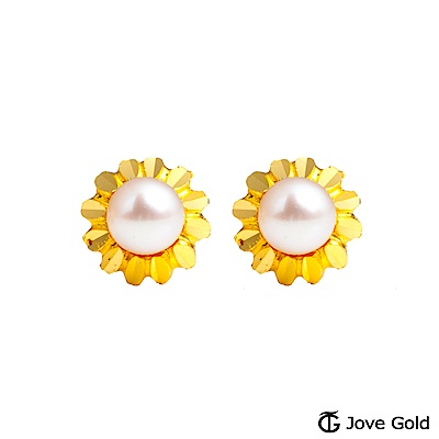 Jove gold 絢麗黃金/天然珍珠耳環