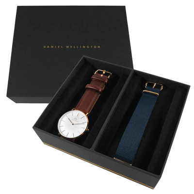 Daniel Wellington 真皮帆布手錶禮盒套組-白x玫瑰金x咖啡/40mm