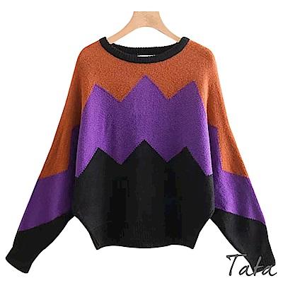 三色撞色蝙蝠袖針織上衣 TATA