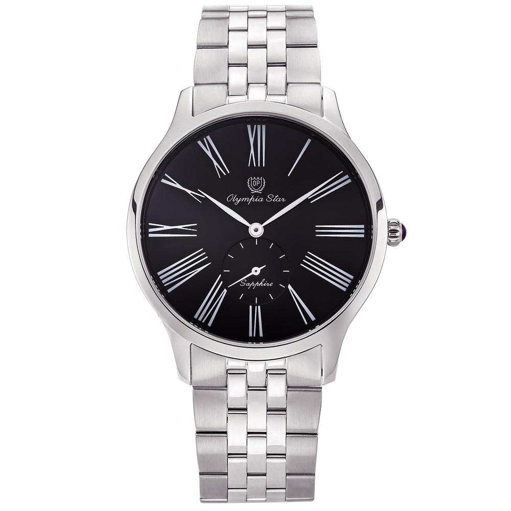 奧林比亞之星 Olympia Star 優雅弧線腕錶-黑  58087MS