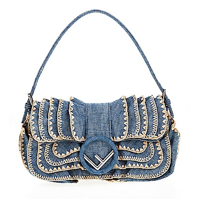 FENDI 經典款牛仔荷葉邊刺繡LOGO釦環肩揹包 (藍色)