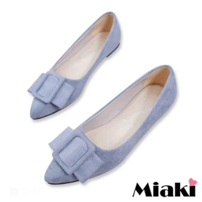 Miaki-娃娃鞋絨面小香風平底鞋-藍