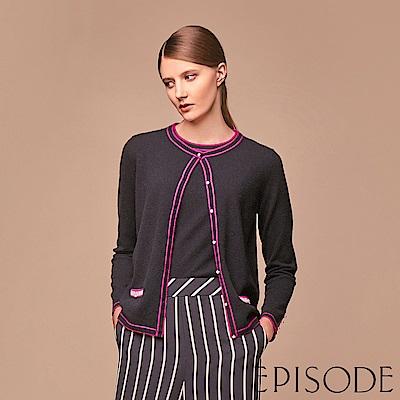 EPISODE - 桃紅滾邊圓領羊毛針織外套