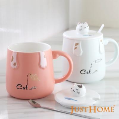 Just Home貓釣魚陶瓷馬克杯420ml-附杯蓋及湯匙(2件組)