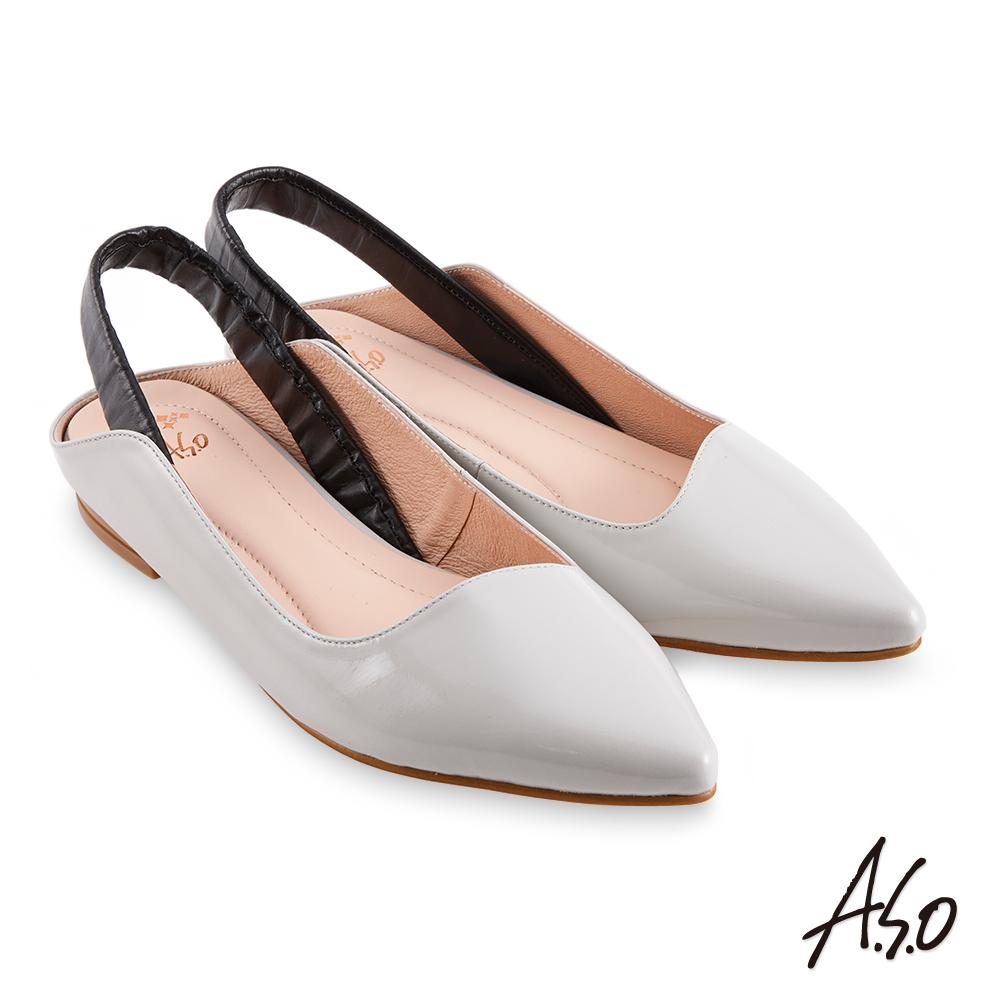 A.S.O時尚流行 健步美型個性後拉帶低跟穆勒鞋灰