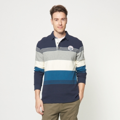 JEEP 撞色條紋厚棉長袖POLO衫 -深藍色