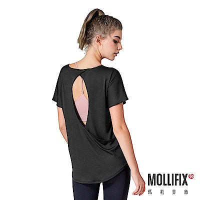 [團購限定] Mollifix  好動垂墜露背運動罩衫(黑)2入組