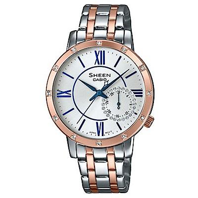 SHEEN簡約風格女神魅力羅馬時刻腕錶(SHE-3046SGP7B)蜜桃金X藍針/34mm