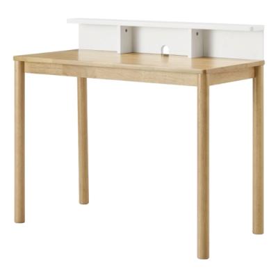 文創集 貝洛卡北歐風3.3尺雙色實木書桌/電腦桌(純粹木語)-100x50x90cm免組