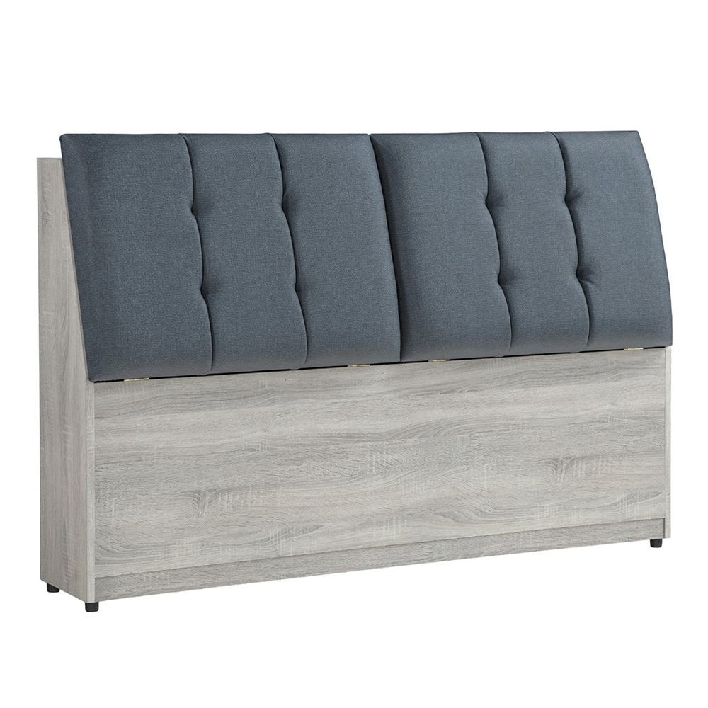 【AT HOME】日式簡約5尺鋼刷淺灰色床頭箱(清心)