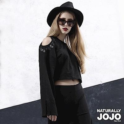 【NATURALLY JOJO】雙肩刺繡設計上衣(黑)