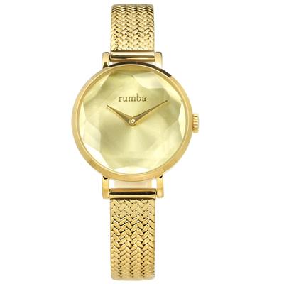 rumba time 紐約品牌 切割玻璃鏡面 米蘭編織不鏽鋼手錶-鍍金/26mm