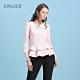 EPISODE - 粉色荷葉邊下擺圓領修身顯瘦長袖上衣 product thumbnail 1
