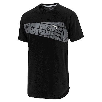 PUMA-男性慢跑系列圖樣短袖T恤-黑色-歐規