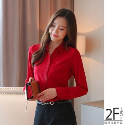 2F韓衣-韓系翻領上衣-3色(S-2XL)