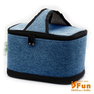 iSFun 極簡牛仔布 加厚手提保冷保溫便當包 2色可選