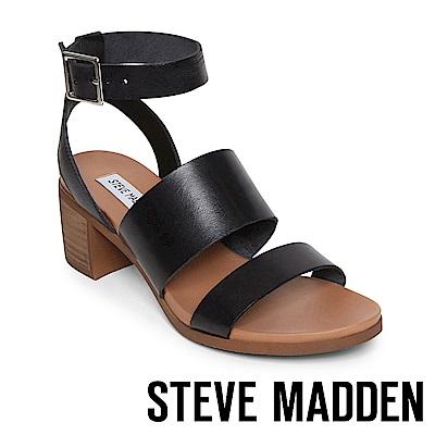 STEVE MADDEN- ALEX 真皮二字繫帶涼鞋-黑色