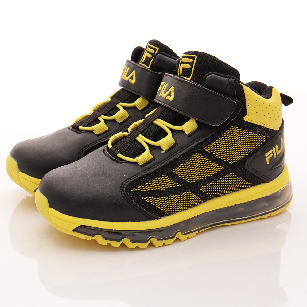 零碼-21cm FILA頂級童鞋 彈力氣墊籃球鞋款 EI15Q-099黑黃