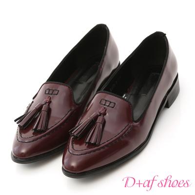 D-AF-英倫潮流-小流蘇漆皮樂福紳士鞋-紅
