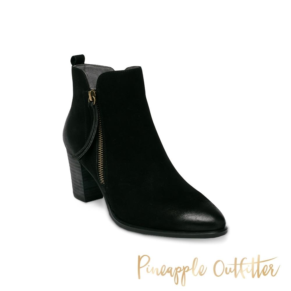 Pineapple Outfitter-BASIRA 真皮復古仿舊拉鍊中跟女短靴-黑色