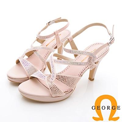 【GEORGE 喬治皮鞋】婚鞋系列 璀璨水鑽飾釦高跟涼鞋-粉