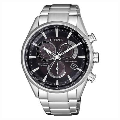 CITIZEN 星辰 光動能 廣告款 電波鈦金屬計時男錶-黑x銀/41.5mm(CB5020-87E)