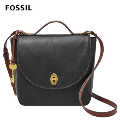 FOSSIL Vintage Classics 復古真皮斜背包-黑色 SHB2322001