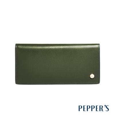 PEPPER S Raven 牛皮薄長夾 - 橄欖綠