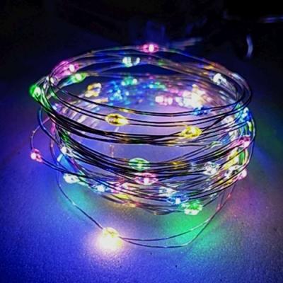 50燈LED銅線燈串彩色光-USB電池盒兩用充電-浪漫星星燈聖誕燈串