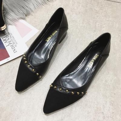 KEITH-WILL時尚鞋館 輕盈顯瘦簡約粗跟鞋-黑