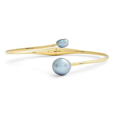 GORJANA 氣質灰珍珠手環 優雅C型手環 Vienna Pearl Cuf
