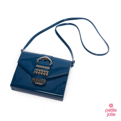 Petite Jolie--復古金屬扣飾果凍信封包-蔚藍