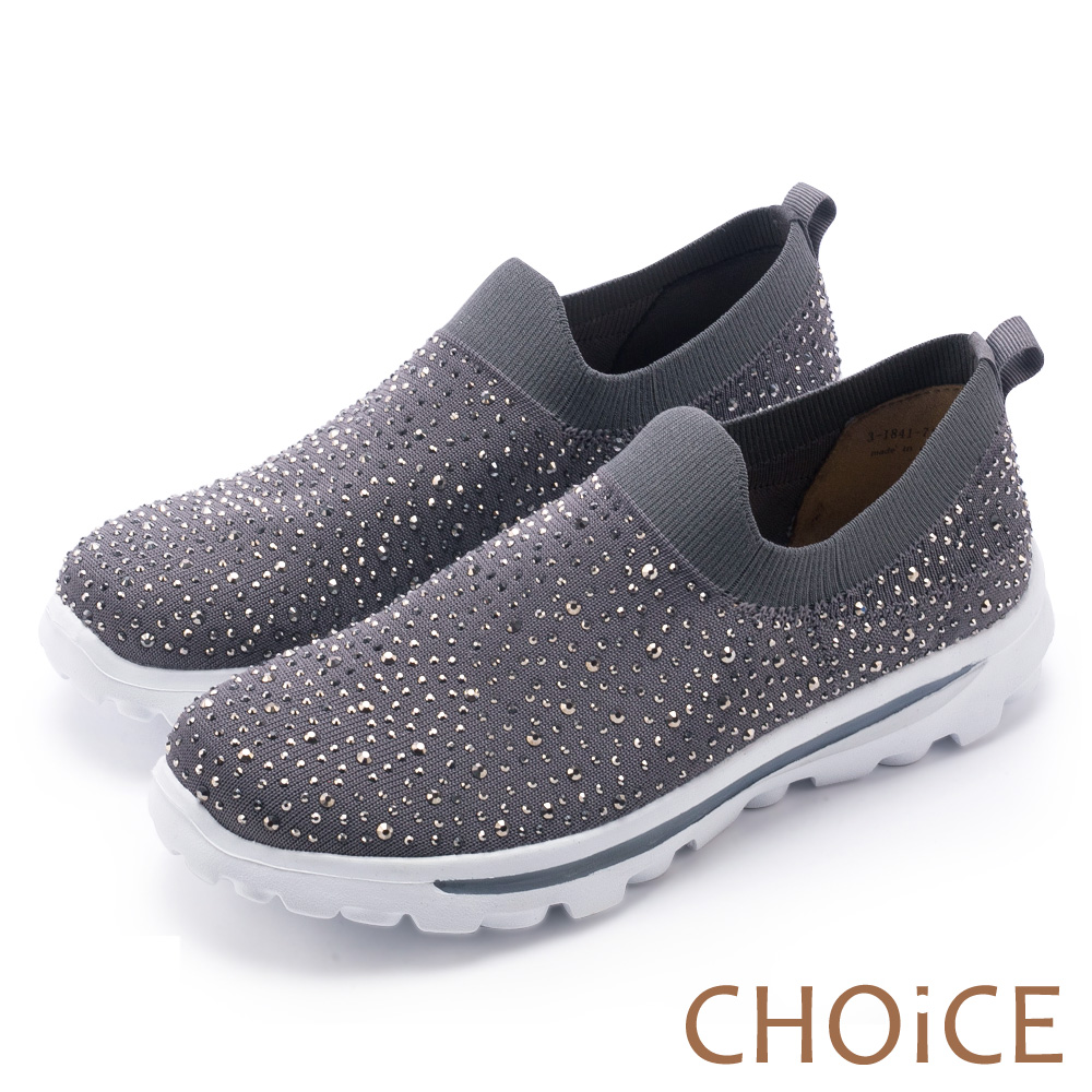 CHOiCE 舒適渡假休閒 燙鑽針織布面休閒包鞋-灰色