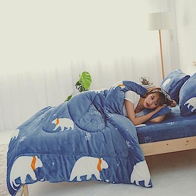 AmissU 北歐送暖法蘭絨雙人加大床包暖暖被四件組 北極熊戀曲