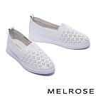 休閒鞋 MELROSE 百搭實穿沖孔拼接全真皮厚底休閒鞋-白