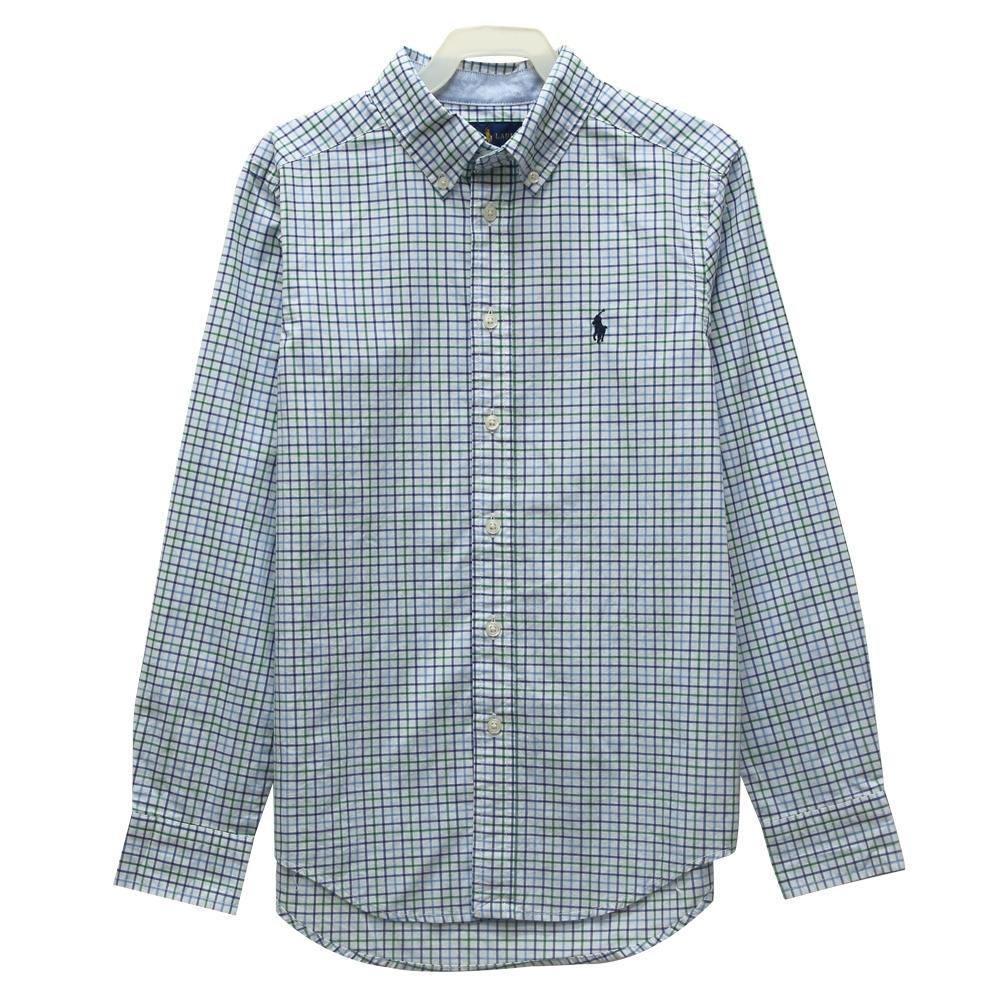 Ralph Lauren 大童小馬格子長袖襯衫-白色(M/10-12)