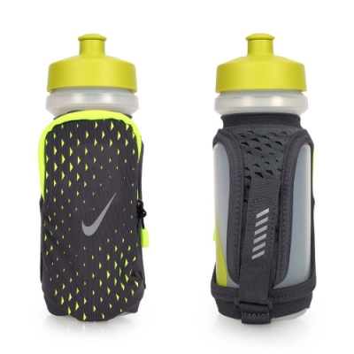 NIKE 輕量跑步手拿水壺22OZ-自行車 慢跑運動水壺 螢光黃灰