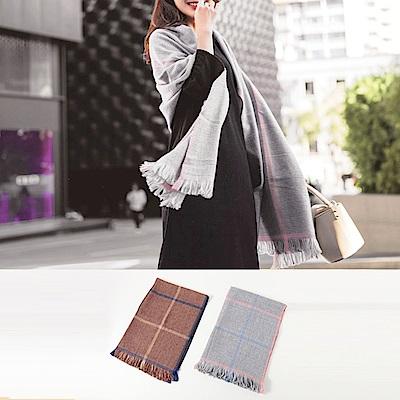 優雅格紋配色短毛鬚圍巾-OB大尺碼