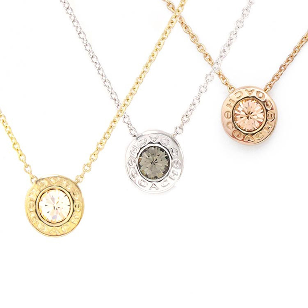COACH 時尚氣質水鑽圓形墜飾項鍊(金/銀/玫瑰金)COACH