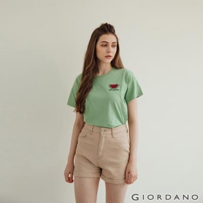 GIORDANO  女裝水果亮片純棉T恤 - 21 青綠