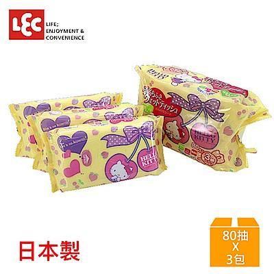 日本LEC Hello Kitty 口手兼用純水99%濕紙巾 80抽x3入/包