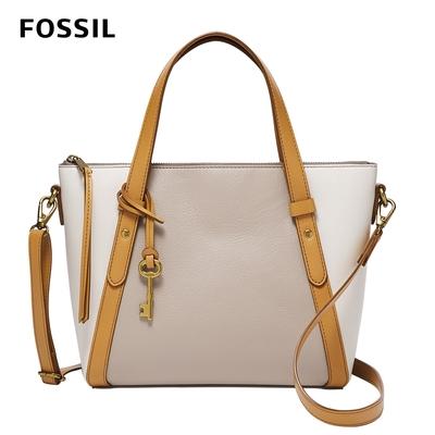 FOSSIL 母親節優惠 Avondale 真皮優雅手提側背兩用包-米色 SHB2796258