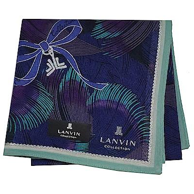 LANVIN en Bleu 優雅蝴蝶結品牌字母LOGO繽紛羽紋圖騰帕領巾(大/藍紫系)